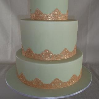 Mint green chocolate & Gold cake lace wedding cake