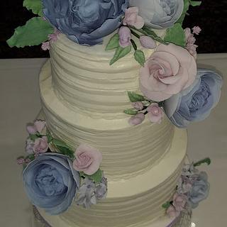 Rustic Lilac Wedding Cake