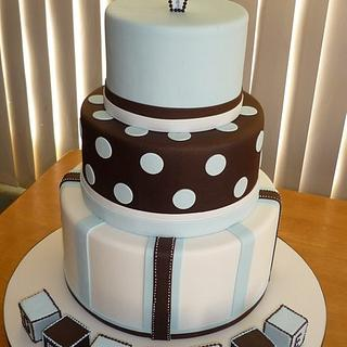 3 Double tiered Christening cake with Swarovski crystal cross
