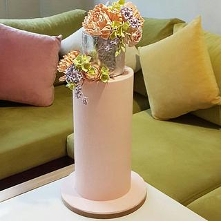 Floral double barrel cake