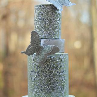 Woodland Butterflies Wedding Cake