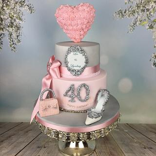 Romantic pink and silver engagagement /40th cake