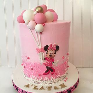 Minnie Mouse balloon cake - Cake by Talk of the Town Cakes LLC