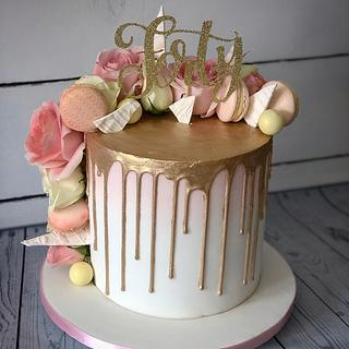 Pale gold and blush drip cake