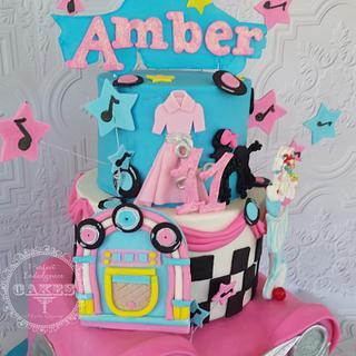 50's retro theme birthday cake