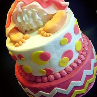 Chevron Baby Shower Cake - Cake by Heather Britton Collins