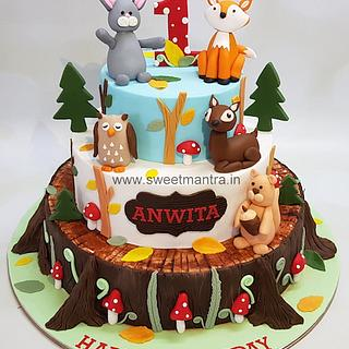 Rustic Woodland Animals theme 3 tier customized cake for girls 1st birthday