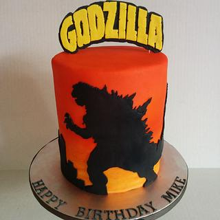 Godzilla silhouette cake