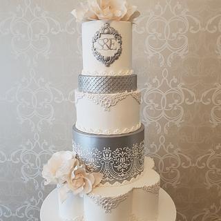 White & Silver wedding cake