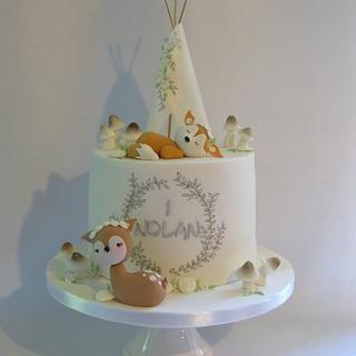 Woodland animal 1st birthday cake