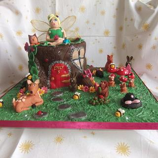 Woodland fairy themed cake.