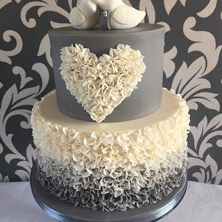 Ombré ruffle wedding cake