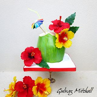 """Mother's Day Collaboration cake. """"Hibiscus in Paradise"""""""
