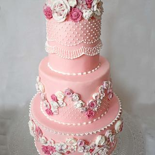 Pink Flowers Cake - Cake by DolceFlo