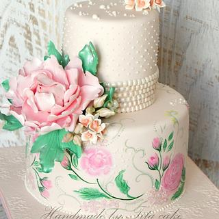 painted cake with peony