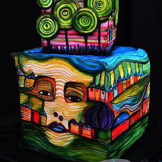Hundertwasser Painted Cake