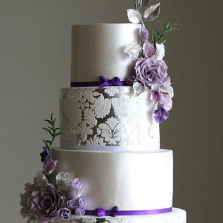 Silver Damask Cake - Cake by Sada Ray