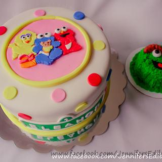 Baby Sesame Street Cake with Oscar Smash Cake for 1st Birthday