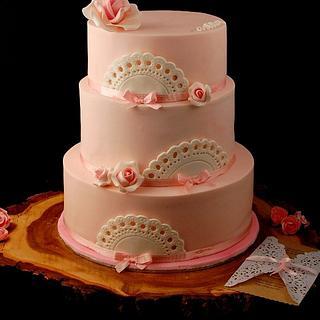 Baby Girl Doily Christening Cake