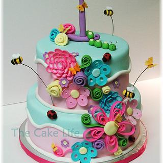 flower and bug 1st birthday cake - Cake by The Cake Life