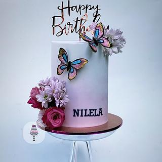 Flower and butterflies cake - Cake by Color Drama Cakes