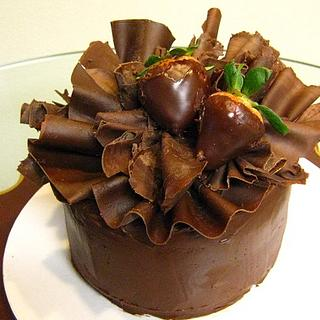 Chocolate Ruffled Birthday Cake
