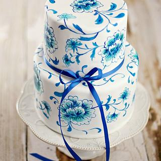 Blue and White Dutch Floral Cake