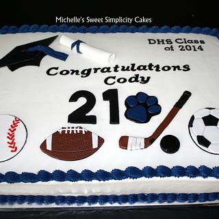 Sports Themed Graduation Cake - Cake by Michelle