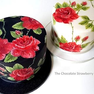 Rambling Roses Painted Cake