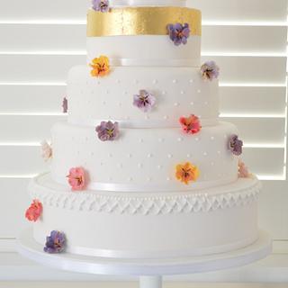 Falling Pansy Wedding Cake