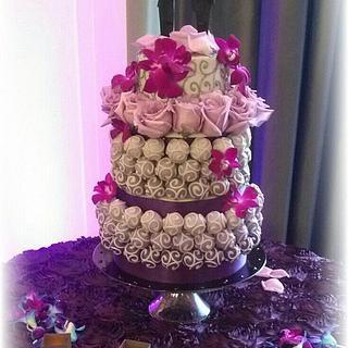 Gray and Purple Hombre Cake Bite Wedding Cake w/ Cutting Cake