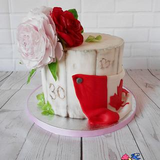 Flowers and Canada flag - Cake by Petra Krátká (Petu Cakes)