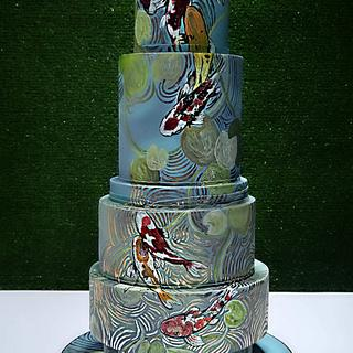 Chinese 70th Birthday Cake - Koi Pond
