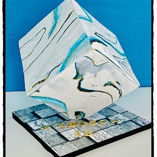Gravity defying cube  - Cake by Rhona