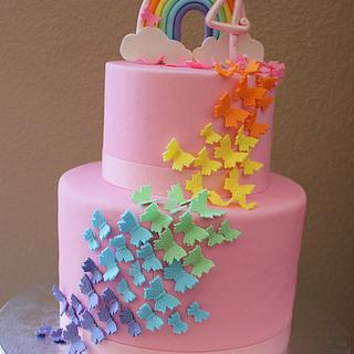 Rainbow Butterfly Birthday Cake