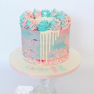 Pink & blue buttercream cake  - Cake by Kaylu