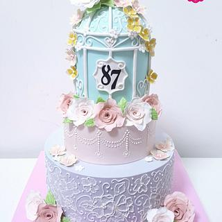 Vintage birdcage and roses