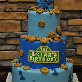 Cookie Monster First Birthday Cake - Cake by Leo Sciancalepore