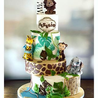 Safari cake 🐊🦒🐘🐒🦁 - Cake by blendys cakes
