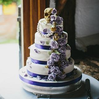 Elegant Pirate themed rose cascade cake