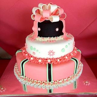 Coral Baby Shower cake - Cake by Dawn Henderson