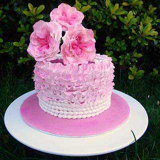 Cake with David Austin Rose Tutorial (Easy, quick and inexpensive, using 2 round cutters)