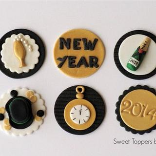 New Years fondant toppers