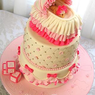 Baby girl crib cake - Cake by Mira - Mirabella Desserts