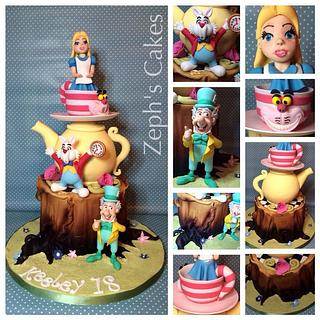 Alice in Wonderland tree stump cake.