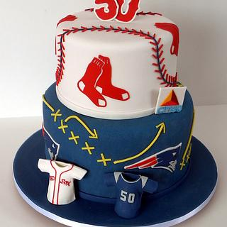 Boston Sports Fan - Cake by Kara's Couture Cakes