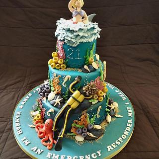 Under The Sea, Scuba Diving Cake - Cake by Storyteller Cakes