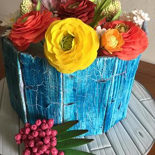 Aged Painted Wood Cake