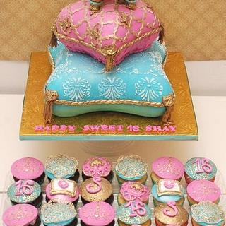 Sweet 16 pillows cake & cupcakes - Cake by Sheila