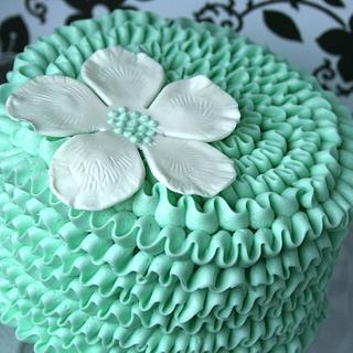 Teal Ruffle Cake